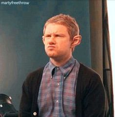 THE best picture on the internet. Martin Freeman, and he still has his Bilbo hobbit ears on!!