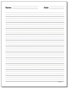 3-line primary handwriting practice paper. Try these free printable writing practice paper templates with name and date at the top when you have primary grade homework or classroom activities and your students need to turn-in their work. These and other printable PDF writing paper ready to print on the site! Handwriting Template, Handwriting Practice Paper, Name Writing Practice, Writing Practice Worksheets, Clock Worksheets, Lined Paper For Kids, Writing Without Tears, Writing Lines, Essay Writing