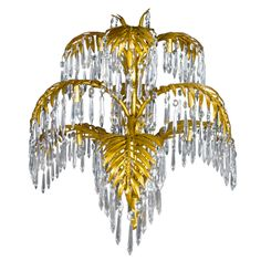 Joseph hoffmann and bakalowitz palm tree chandelier pendant antique french gilt bronze cut crystal palm tree chandelier from a unique collection of aloadofball Images