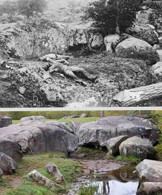 Slaughter Pen, Gettysburg, then and now