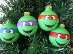 Ninja Turtles painted ornament set- I know a little man who would love these. @skyemcpherson
