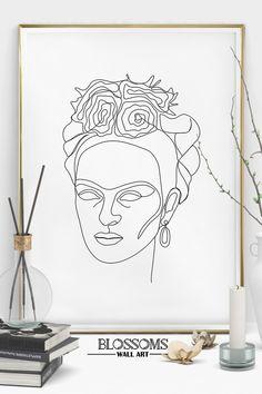 Line Art Portrait Frida Kahlo Print Modern Art One Line Art Bedroom Wall Decor Modern Minimalist Art One Line Drawing minimalart Modern Art Prints, Wall Art Prints, Canvas Wall Art, Frida Kahlo Tattoos, Minimal Art, Kahlo Paintings, Canvas Art Projects, Frida Art, Atelier D Art