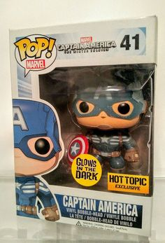 NEW FUNKO MARVEL CAPTAIN AMERICA POP VINYL GLOW IN THE DARK HOT TOPIC EXCLUSIVE in Collectibles, Pinbacks, Bobbles, Lunchboxes, Bobbleheads, Nodders   eBay