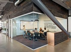 nice open feel using ceiling to floor glass walls. the glass doubles as a whiteboard. (dropbox)
