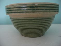vintage pottery bowl green