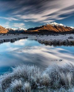 Frosty reflections at the Hakatere Conservation Park in New Zealand. Tap this pin to take a look at our Instagram account for more New Zealand photography.
