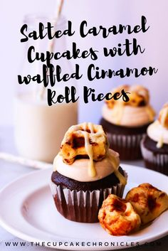 Chocolate cupcakes with a salted caramel buttercream, garnished with waffled cinnamon roll pieces!