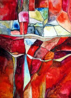 rotes Land  - Original von abstrakte bilder und mehr von maria-mercedes auf DaWanda.com Painting red watercolor