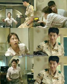 Song Joong-ki as Yoo Shi-jin and Song Hye-kyo as Kang Mo-yeon Descendants of the sun K Drama, Drama Fever, Desendents Of The Sun, Descendants Of The Sun Wallpaper, Les Descendants, Song Hye Kyo Descendants Of The Sun, Song Joon Ki, Songsong Couple, Drama Funny