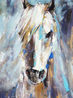 Blue Beauty III Animal Art Canvas Print Wall Art - Animals Canvas Wall Art - Ideas of Animals Canvas Wall Art Abstract Horse Painting, Watercolor Horse, Abstract Art, Acrilic Paintings, Horse Wall Art, Detail Art, Animal Paintings, Canvas Art Prints, Acrylic Art