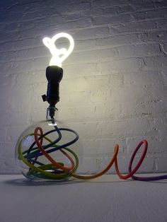 Modern Lighting - Glass Globe Bubble Table Lamp w Ombre Rainbow Color Cord and Plumen Light Bulb. $750.00, via Etsy.