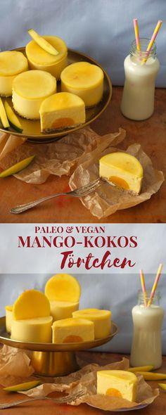 Das Beste an diesen leckeren Mango-Kokos-Törtchen: Sie kommen ganz ohne Zucker,… The best thing about these delicious mango and coconut tarts: they can do without sugar, gluten and lactose, which means they are both paleo, vegan and raw. Paleo Vegan, Roh Vegan, Paleo Bread, Paleo Food, Paleo Dessert, Crema Recipe, Coconut Tart, Vegan Sweets, Health Desserts