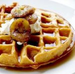 Belgian Buttermilk Waffles - I made them without the glazed banana topping - they're substantial, tasty & easy