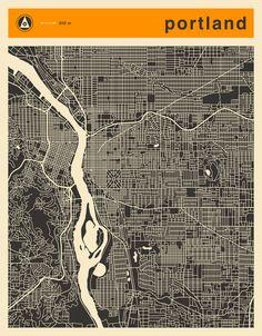 Poster | PORTLAND MAP von Jazzberry Blue