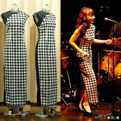Orders from famous artists 土岐麻子(Asako Toki) in Japan  P2 Contemporary Qipao. She brought a houndstooth pattern cloth . Black cloth is silk jacquard of the dragon made in China
