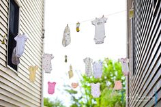 baby clothes on cloths line decoration idea