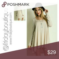 """Soft Long Sleeve Tunic S, M, L Color - Cappuccino Exact as shown in photos. Length Front 30"""" Back 33"""" Bust 36"""" Fabric does stretch. 96 % Rayon 4 % Spandex Made in USA Tops Tunics"""
