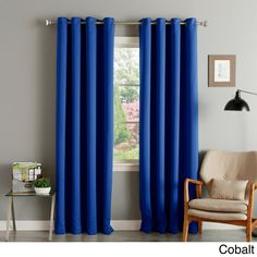 Aurora Home Thermal Insulated Blackout Grommet Top 84-inch Curtain Panel Pair (Cobalt), Blue, Size 52 x 84 (Polyester, Solid)