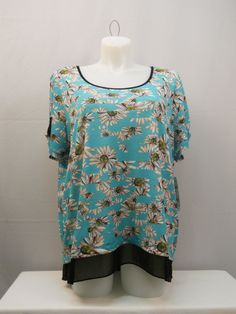 PLUS SIZE 1X Womens Tunic Top NY COLLECTION Floral Scoop Neck Short Sleeves  #NYCollection #Tunic #Career