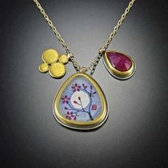 Organic Plum Blossom Charm Necklace. Symbolizing rebirth and renewal, this beautiful plum blossom charm necklace features an original acrylic painting on watercolor paper. Painting measures 3/4 inch and floats freely between a vibrant rose cut ruby and a solid gold disk charm.