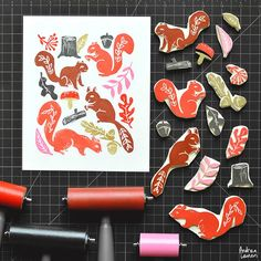 Andrea Lauren: Squirrels and Autumn hand carved stamp elements by Andrea Lauren