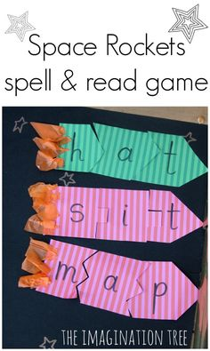 Literacy: Space Rockets Spell and Read Game - The Imagination Tree. A creative way to have students practice putting the sounds of words together with their graphemes to form words! Space Activities, Sight Word Activities, Phonics Activities, Educational Activities, Learning Activities, Teaching Reading, Teaching Tools, Fun Learning, Teaching Ideas