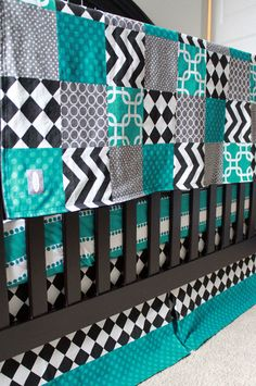 Custom Crib bedding Black and Turquoise by GiggleSixBaby on Etsy