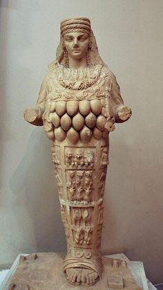 Artemis of Ephesus. Statue from the Amphitheater of  Lepcis Magna. Originally flanked by two animals