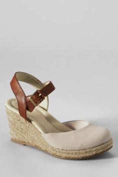 Womens Regular Lace Espadrille Wedge Shoes - 4.5 Lands End 5PWl37