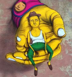 What a Great piece of Artwork ..... Os Gemeos detail in Vilnius, Lithuania.