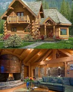 Love this log cabin style. Cabins In The Woods, House In The Woods, My House, Log Cabin Living, Log Cabin Homes, Log Cabins, Cabins And Cottages, House Goals, My Dream Home