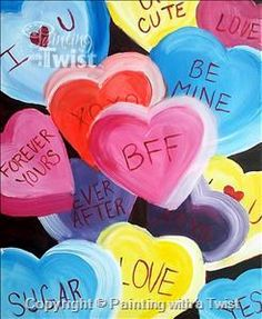 Candy Hearts | 2/4/2015 (Painting with a Twist, Newark DE $40)