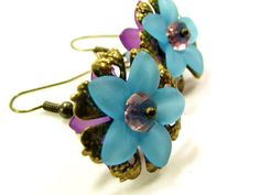 Blue and Lavender Lucite Flower Earrings, Charming Accessory