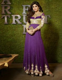 Gorgeous Long Purple Anarkali by Shilpa Shetty (6003)