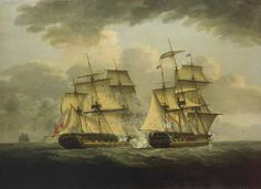 An oil painting of a naval engagement between the French frigate Semillante and British frigate Venus in 1793
