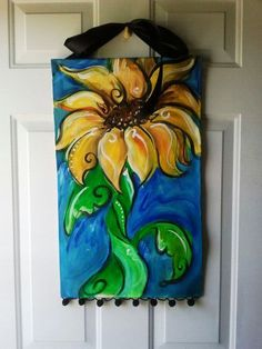 Summer sunflower banner for the front door by ArtsyMom42 on Etsy, $55.00