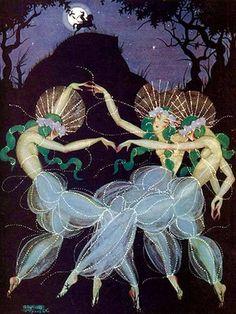 Moon Madness by Aleksander Rzewuski ( Polish/Russian - ) for Tatler Magazine, April 1922 Art Deco Illustration, Illustrations, Les Fables, Dancing In The Moonlight, Pretty Art, Anime Comics, Art Inspo, Vintage Art, Fantasy Art