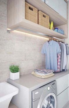 50 Small Laundry Room Design Ideas to Try Who says that having a small laundry room is a bad thing? These smart small laundry room design ideas will prove them wrong. Laundry Room Inspiration, Modern Laundry Rooms, Room Design, Laundry Mud Room, Laundry Drying, Utility Rooms, Hanging Clothes, Laundry Room Update