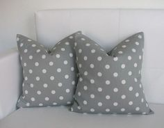 20 x 20 Gray Polkadot Pillow Covers - 20x20 - Decorative Throw Pillow Covers. $40.00, via Etsy.