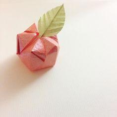 I little origami apple   Have been mia past week.. school hols  hope u are all well  Origami apple design: PaperKawaii  #origami #apple #origamiapple #paperfolding #paperkawaii #cute #kawaii #redapple #leaf #origamileaf
