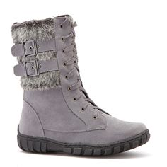 Bucco Gray Phineas Boot ($35) ❤ liked on Polyvore featuring shoes, boots, ankle boots, lace up platform bootie, lace up bootie, gray ankle boots, faux fur lined boots and bucco boots
