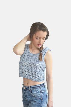 Cotton Crop Top Grayish Blue Summer Cropped Top / Hand by Plexida, €36.00