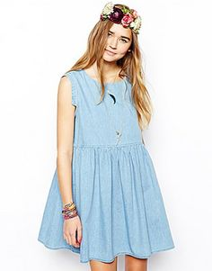 ASOS Denim Smock Dress with Cap Sleeve in Light Wash