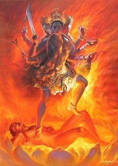 Durga Puja festival marks the victory of goddess Durga in her battle against the shape-shifting and deceptive buffalo-asura Mahishasura. Kali Mata, Kali Goddess, Indian Goddess, Goddess Art, Mother Kali, Divine Mother, Arte Dope, Shiva Shakti, Hindu Deities