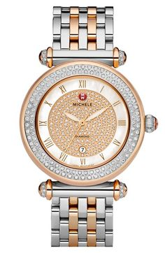 MICHELE 'Caber' Diamond Watch Case, 37mm | More than 300 hand-set diamonds fill the circular two-tone dial of a customizable Swiss-powered watch case.