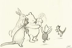 e.h. shepard drawings | One of the first Winnie-the-Pooh drawings by E.H. Shepard