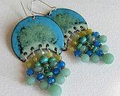 Blue Chandelier Earrings, Statement Jewelry, Bohemian Jewelry, Enamel Jewelry