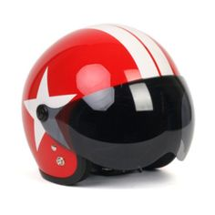 Motorcycle Jet Helmet Vintage Scooter Open Face Red