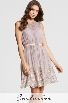 Mink and Gold Embroidered Prom Dress