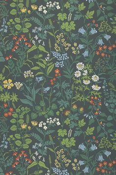 Aislinn | Papel de parede floral | Padrões de papel de parede | Papel de parede dos anos 70